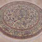 8 FOOT ROUND AREA RUG FINE PERSIAN IVORY BEIGE PAKISTAN
