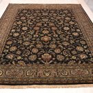 8x10 WOOL HANDMADE PERSIAN RUG BLACK GREEN GOLD PLUSH