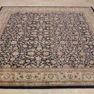 8x8 SQUARE WOOL HANDMADE AREA RUG PERSIAN NAVY IVORY