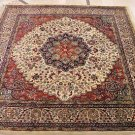 6.5 FT SQ AREA RUG WOOL HAND KNOTTED PERSIAN IVORY RED