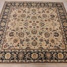 6 FT SQUARE WOOL HANDMADE AREA RUG PERSIAN IVORY BLUE
