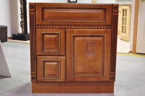 30 inch heritage style caramel bathroom vanity left drawers dentil