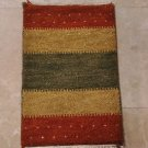 1x2 HANDMADE GABBEH WOOL RUG MINI GREEN YELLOW RUST PET