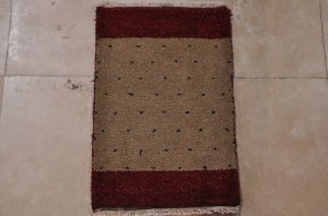 1x2 HANDMADE GABBEH WOOL RUG MINI BEIGE RED BLUE DOTS