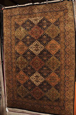 6x9 WOOL HAND KNOTTED AREA RUG MASTERPIECE BLACK BROWN