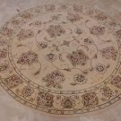 6 FOOT ROUND AREA RUG HAND TUFTED WOOL SILK IVORY CHINA
