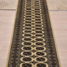 3x11 HANDMADE RUNNER WOOL BOKHARA TAN BLACK TRIBAL SOFT