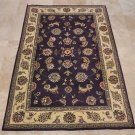 4x6 WOOL & SILK AREA RUG PURPLE IVORY HANDMADE TUFTED
