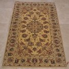3x5 WOOL SILK AREA RUG IVORY BEIGE GREEN HAND TUFTED