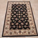 4x6 WOOL & SILK AREA RUG BLUE IVORY HANDMADE TUFTED