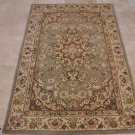 4x6 WOOL & SILK AREA RUG GRAY BEIGE HANDMADE TUFTED