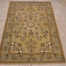 4x6 WOOL & SILK AREA RUG BEIGE GREEN HANDMADE TUFTED