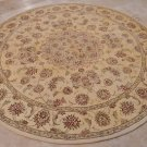 8 FOOT ROUND AREA RUG HAND TUFTED SILK WOOL YELLOW MED
