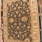 9x12 RUG BLACK IVORY HANDMADE JAIPUR GREEN WOOL INDIA