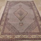 6x9 TABRIZ RUG HANDMADE IVORY PLUM LT GOLD ORIENTAL W&S