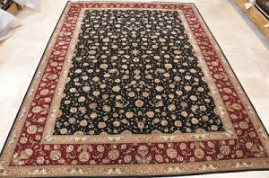 10x14 AREA RUG HANDMADE KNOTTED BLACK RED WOOL & SILK