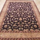 10x14 AREA RUG HANDMADE KNOTTED NAVY TAUPE WOOL & SILK