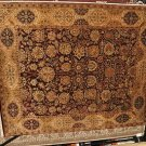 8x10 WOOL RUG HANDMADE JAIPUR PLUM BEIGE GOLD GREEN NEW