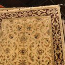 8x10 WOOL AREA RUG HANDMADE GOLD BEIGE PLUM JAIPUR NEW