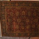 8x10 KASHAN RUG RED GREEN GOLD HANDMADE THICK PLUSH WOOL PILE 196 KPSI INDIA NEW