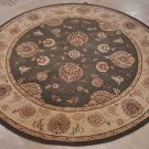 6 FOOT ROUND AREA RUG HAND TUFTED WOOL SILK GREEN BEIGE