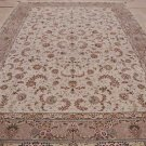 10x14 WOOL&SILK AREA RUG HAND KNOTTED IVORY TAUPE MADE