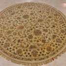 6 FOOT ROUND AREA RUG HAND TUFTED TWISTED WOOL BEIGE