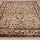 8x10 WOOL HAND KNOTTED AREA RUG BEIGE w/ RED SAROUK