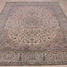 8x10 WOOL HAND KNOTTED AREA RUG IVORY TEAL PERSIAN FINE