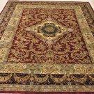 8x10 WOOL HANDMADE AREA RUG BURGUNDY RED BLACK PERSIAN