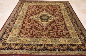 8x10 WOOL HANDMADE AREA RUG BURGUNDY RED BLACK PERSIAN