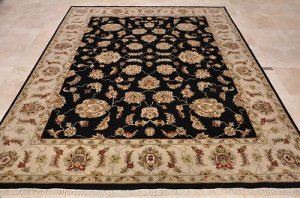 8x10 WOOL HANDMADE AREA RUG BLACK BEIGE FINE PERSIAN