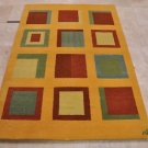 5x7 HAND KNOTTED WOOL AREA RUG GABBEH MODERN GOLD INDIA