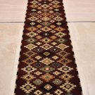 2.5x12 RUNNER HANDMADE WOOL TRIBAL RED MODERN KNOTTED