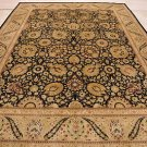 10x14 WOOL AREA RUG FINE PERSIAN BLACK GOLD HANDMADE