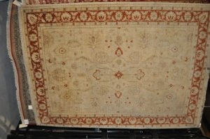 7x10 RUG CHOBI IVORY RUST HANDMADE VEGETABLE DYE MUTED