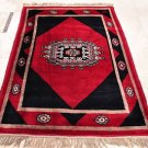 HANDMADE PERSIAN AREA RUG 5x7 RED BLACK BOKHARA TRIBAL