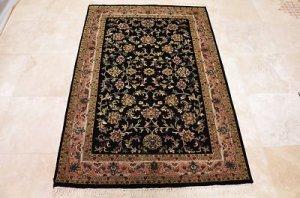 HANDMADE PERSIAN AREA RUG 4x6 BLACK ROSE NAIN FINE
