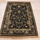 HANDMADE PERSIAN AREA RUG 4x6 BLACK GREEN NAIN FINE