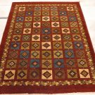 5x7 HAND KNOTTED WOOL AREA RUG RUST GREEN CHOBI VEG DYE