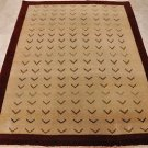 5x7 HAND KNOTTED WOOL AREA RUG IVORY RED CONTEMPORARY