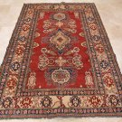 6x9 WOOL AREA RUG HANDMADE KAZAK TRIBAL RED IVORY BLUE