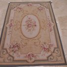 4x6 WOOL AREA RUG FRENCH AUBUSSON HANDMADE IVORY GRAY
