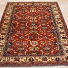 5x6 HAND KNOTTED WOOL AREA RUG RED IVORY KAZAK TRIBAL