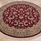 8 FOOT ROUND ORIENTAL RUG BURGUNDY GREEN WOOL SILK