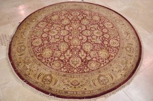 8 FOOT ROUND RUG HANDMADE WINE GOLD GREEN VEGETABLE DYE