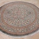 8 FOOT ROUND RUG WOOL HANDMADE GREEN PERSIAN FLORAL