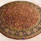 8 FOOT ROUND RUG HANDMADE WOOL RUST BLACK GOLD KASHAN