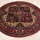 8 FOOT ROUND RUG HANDMADE WOOL HERIZ NAVY RED TRIBAL