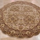 8 FOOT ROUND RUG HANDMADE GEOMETRIC JAIPUR BEIGE RED